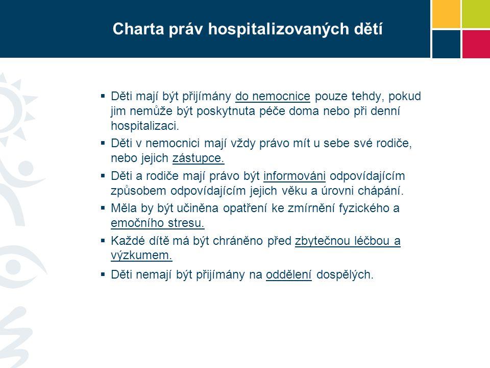 Charta práv hospitalizovaných dětí  Děti mají být přijímány do nemocnice pouze tehdy, pokud jim nemůže být poskytnuta péče doma nebo při denní hospit