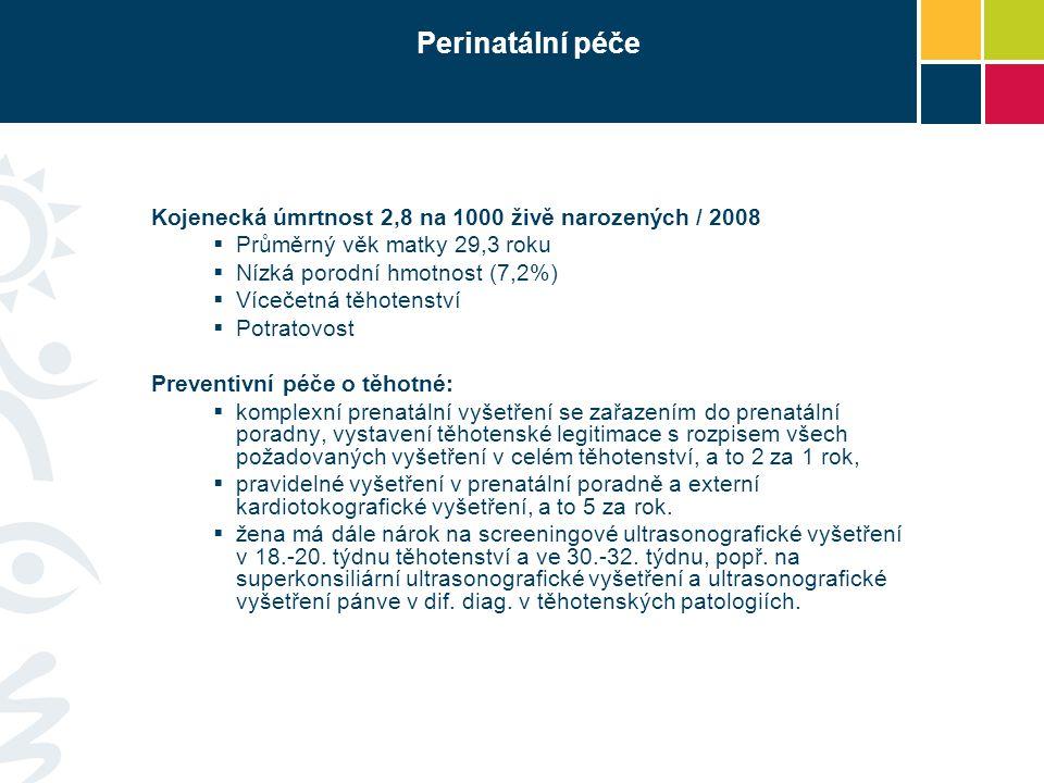 Perinatální péče Kojenecká úmrtnost 2,8 na 1000 živě narozených / 2008  Průměrný věk matky 29,3 roku  Nízká porodní hmotnost (7,2%)  Vícečetná těho