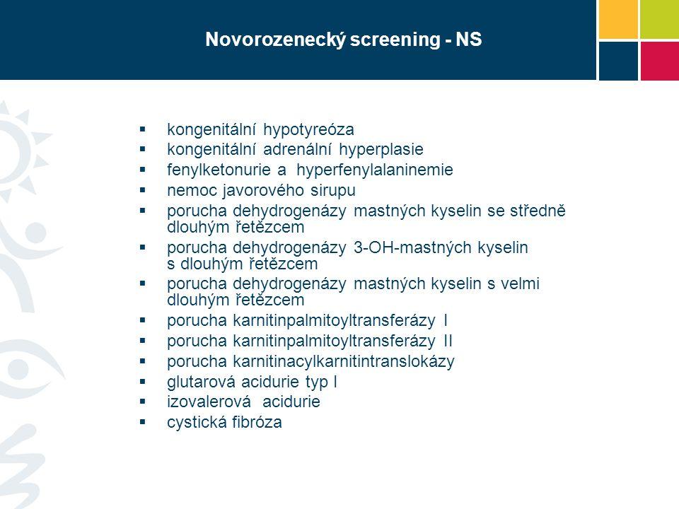 Novorozenecký screening - NS  kongenitální hypotyreóza  kongenitální adrenální hyperplasie  fenylketonurie a hyperfenylalaninemie  nemoc javorovéh
