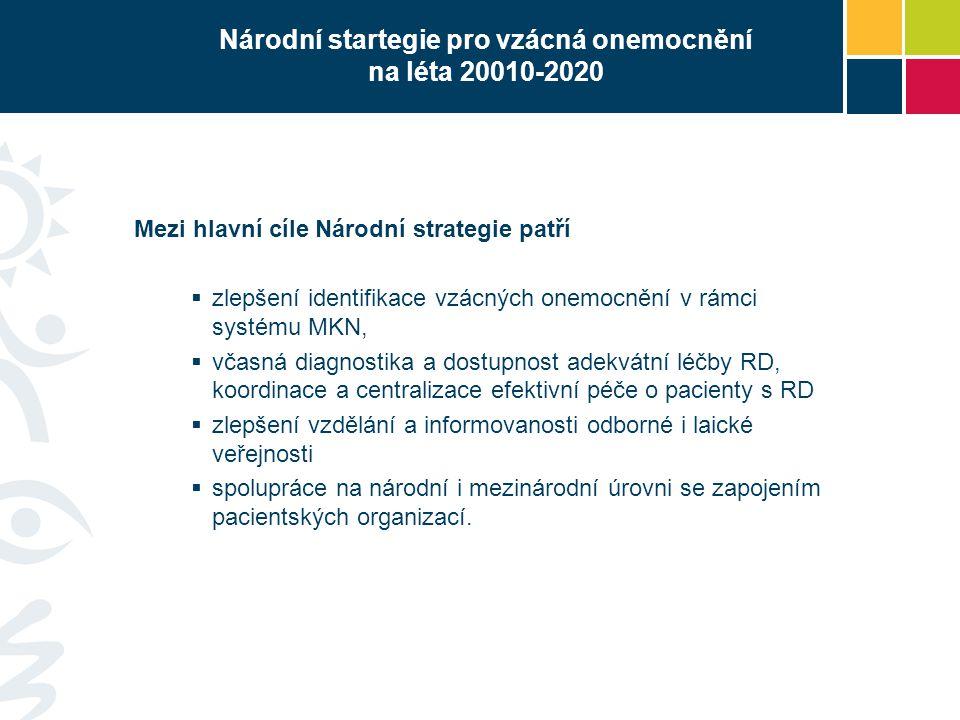 Národní startegie pro vzácná onemocnění na léta 20010-2020 Mezi hlavní cíle Národní strategie patří  zlepšení identifikace vzácných onemocnění v rámc
