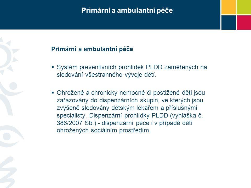 Primární a ambulantní péče  Systém preventivních prohlídek PLDD zaměřených na sledování všestranného vývoje dětí.  Ohrožené a chronicky nemocné či p