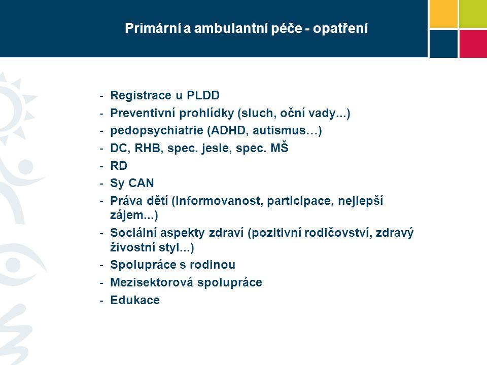 Primární a ambulantní péče - opatření -Registrace u PLDD -Preventivní prohlídky (sluch, oční vady...) -pedopsychiatrie (ADHD, autismus…) -DC, RHB, spe