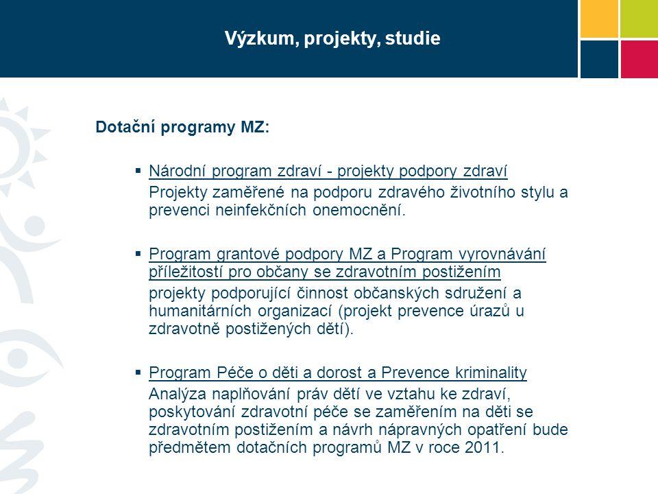 Výzkum, projekty, studie Dotační programy MZ:  Národní program zdraví - projekty podpory zdraví Projekty zaměřené na podporu zdravého životního stylu