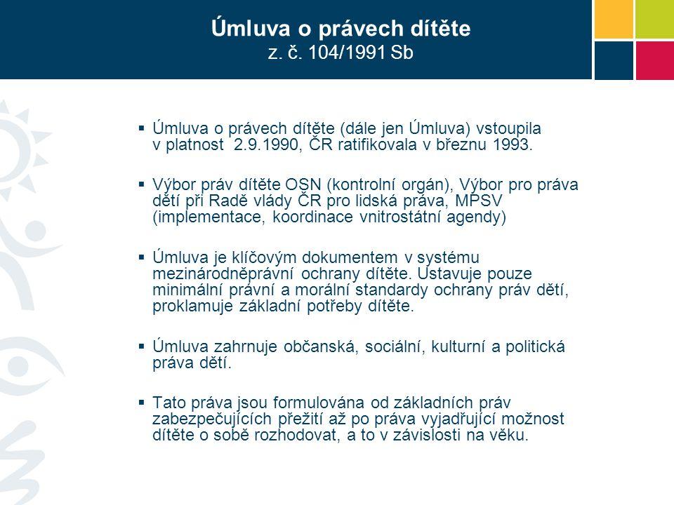 Úmluva o právech dítěte z. č. 104/1991 Sb  Úmluva o právech dítěte (dále jen Úmluva) vstoupila v platnost 2.9.1990, ČR ratifikovala v březnu 1993. 