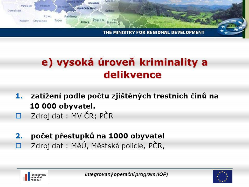 Integrovaný operační program (IOP) e) vysoká úroveň kriminality a delikvence 1.zatížení podle počtu zjištěných trestních činů na 10 000 obyvatel.