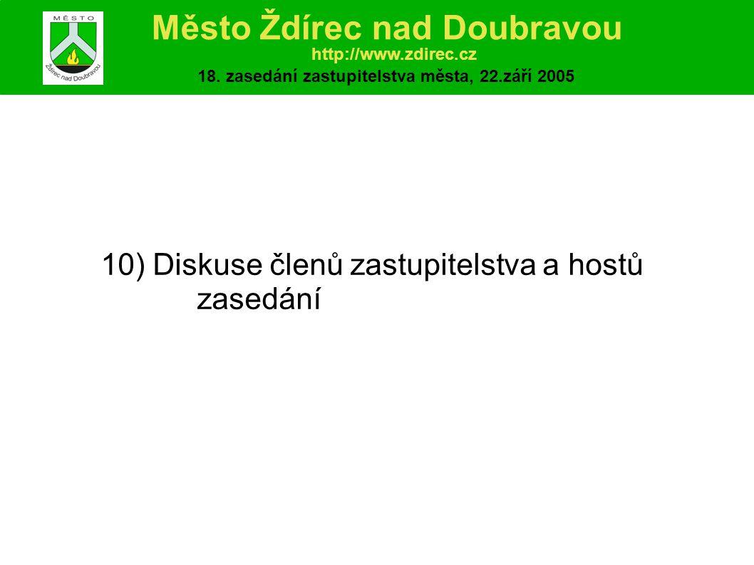 10) Diskuse členů zastupitelstva a hostů zasedání Město Ždírec nad Doubravou http://www.zdirec.cz 18.