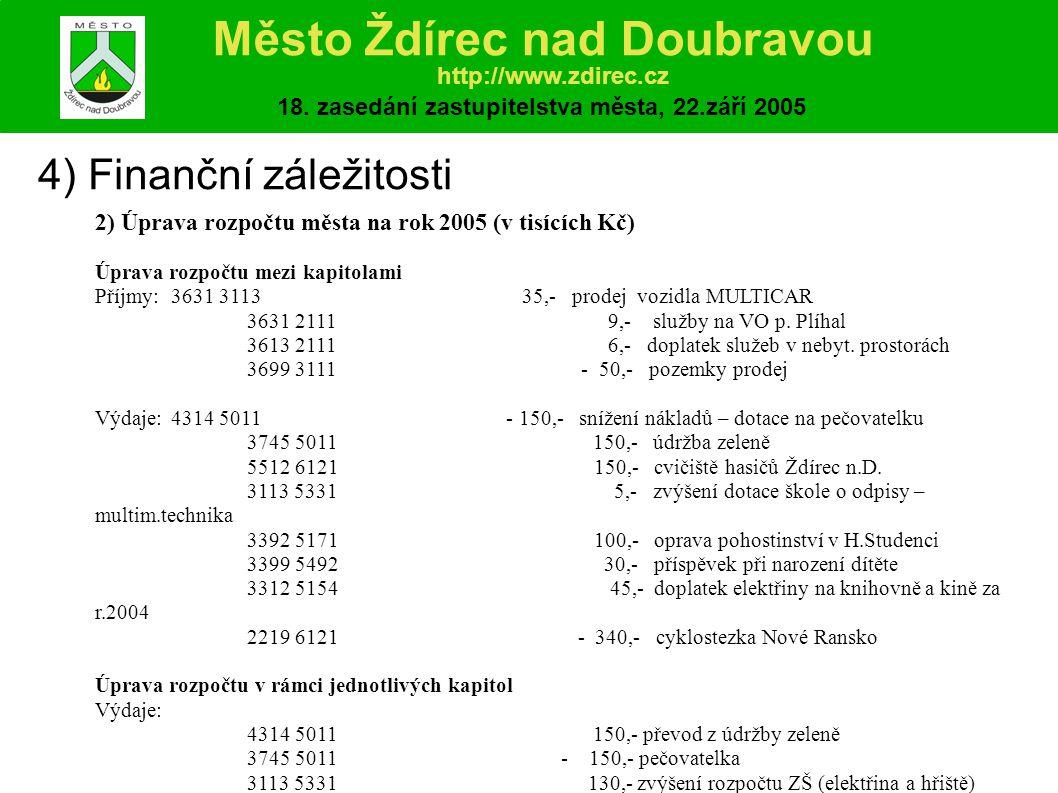 4) Finanční záležitosti 2) Úprava rozpočtu města na rok 2005 (v tisících Kč) Úprava rozpočtu mezi kapitolami Příjmy:3631 3113 35,- prodej vozidla MULTICAR 3631 2111 9,- služby na VO p.