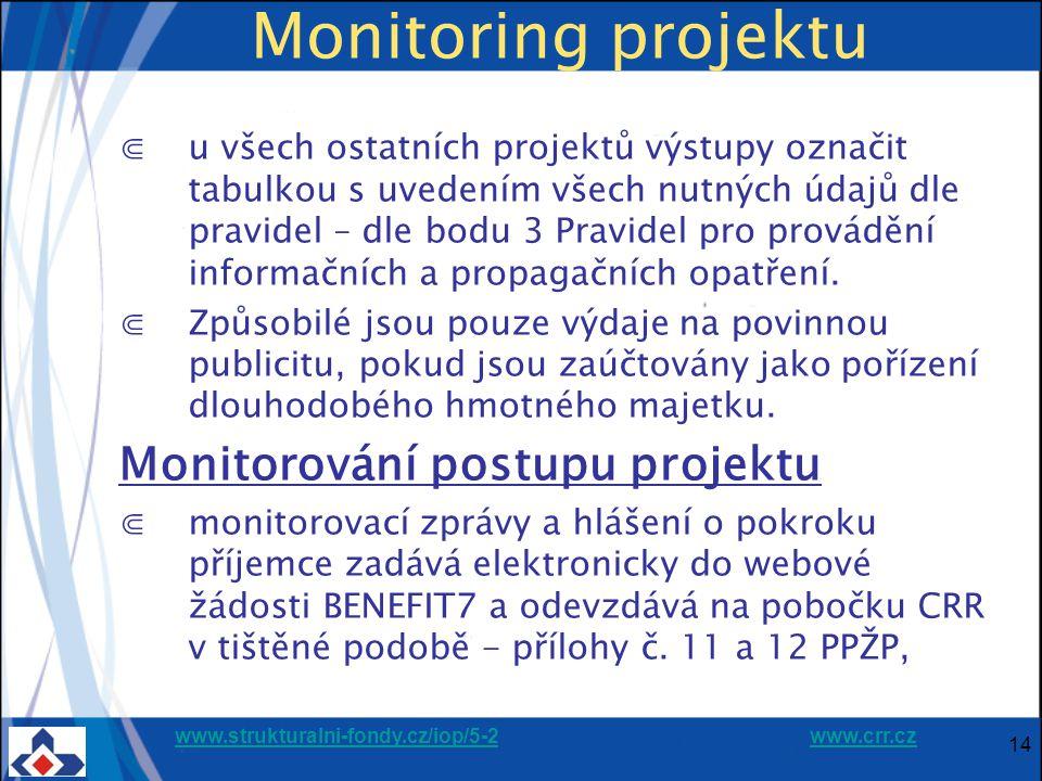 www.strukturalni-fondy.cz/iop/5-2www.strukturalni-fondy.cz/iop/5-2 www.crr.czwww.crr.cz Monitoring projektu ⋐u všech ostatních projektů výstupy označit tabulkou s uvedením všech nutných údajů dle pravidel – dle bodu 3 Pravidel pro provádění informačních a propagačních opatření.