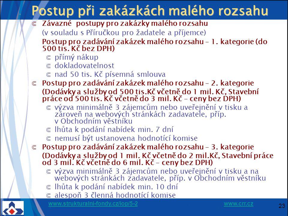 www.strukturalni-fondy.cz/iop/5-2www.strukturalni-fondy.cz/iop/5-2 www.crr.czwww.crr.cz 23 Postup při zakázkách malého rozsahu ⋐Závazné postupy pro zakázky malého rozsahu (v souladu s Příručkou pro žadatele a příjemce) Postup pro zadávání zakázek malého rozsahu – 1.