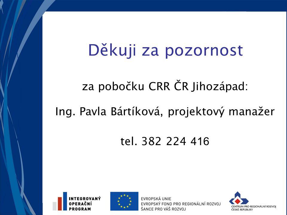 Děkuj i za pozornost za pobočku CRR ČR Jihozápad: Ing. Pavla Bártíková, projektový manažer tel. 382 224 416