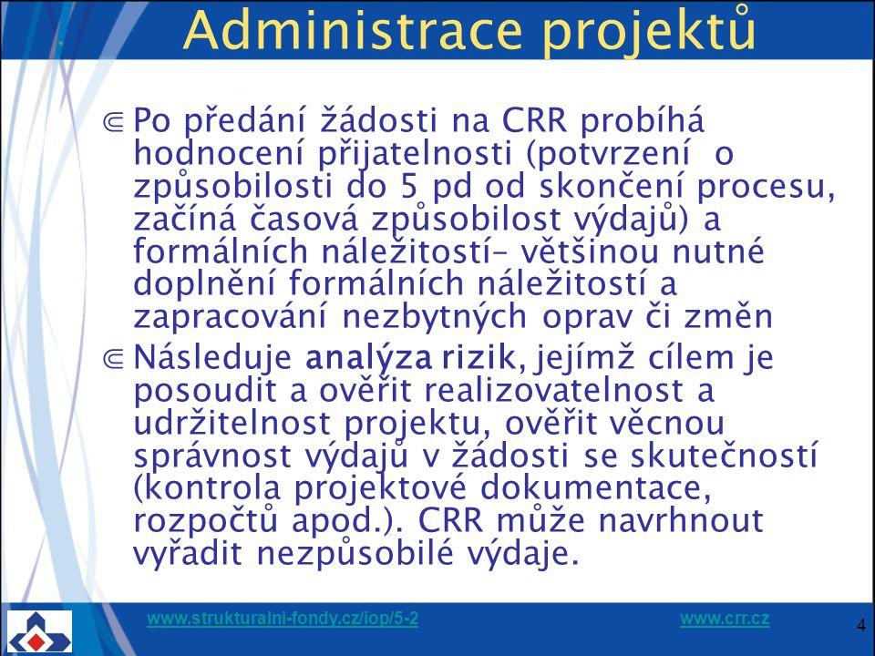 www.strukturalni-fondy.cz/iop/5-2www.strukturalni-fondy.cz/iop/5-2 www.crr.czwww.crr.cz 4 Administrace projektů ⋐Po předání žádosti na CRR probíhá hodnocení přijatelnosti (potvrzení o způsobilosti do 5 pd od skončení procesu, začíná časová způsobilost výdajů) a formálních náležitostí– většinou nutné doplnění formálních náležitostí a zapracování nezbytných oprav či změn ⋐Následuje analýza rizik, jejímž cílem je posoudit a ověřit realizovatelnost a udržitelnost projektu, ověřit věcnou správnost výdajů v žádosti se skutečností (kontrola projektové dokumentace, rozpočtů apod.).