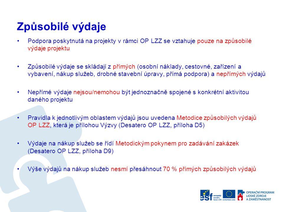 Způsobilé výdaje Podpora poskytnutá na projekty v rámci OP LZZ se vztahuje pouze na způsobilé výdaje projektu Způsobilé výdaje se skládají z přímých (