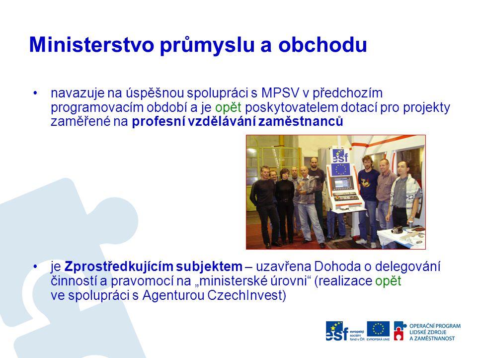 navazuje na úspěšnou spolupráci s MPSV v předchozím programovacím období a je opět poskytovatelem dotací pro projekty zaměřené na profesní vzdělávání