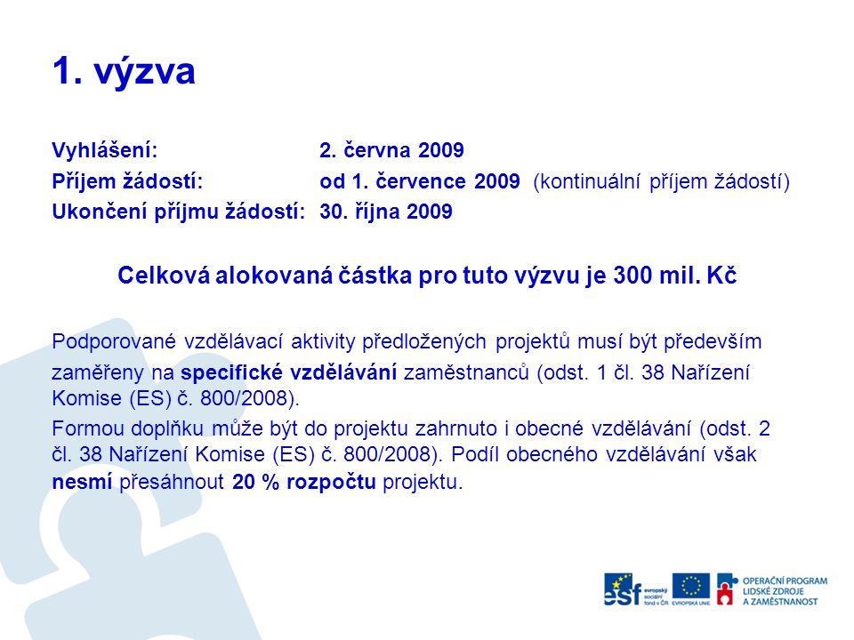 1. výzva Vyhlášení: 2. června 2009 Příjem žádostí: od 1. července 2009 (kontinuální příjem žádostí) Ukončení příjmu žádostí: 30. října 2009 Celková al