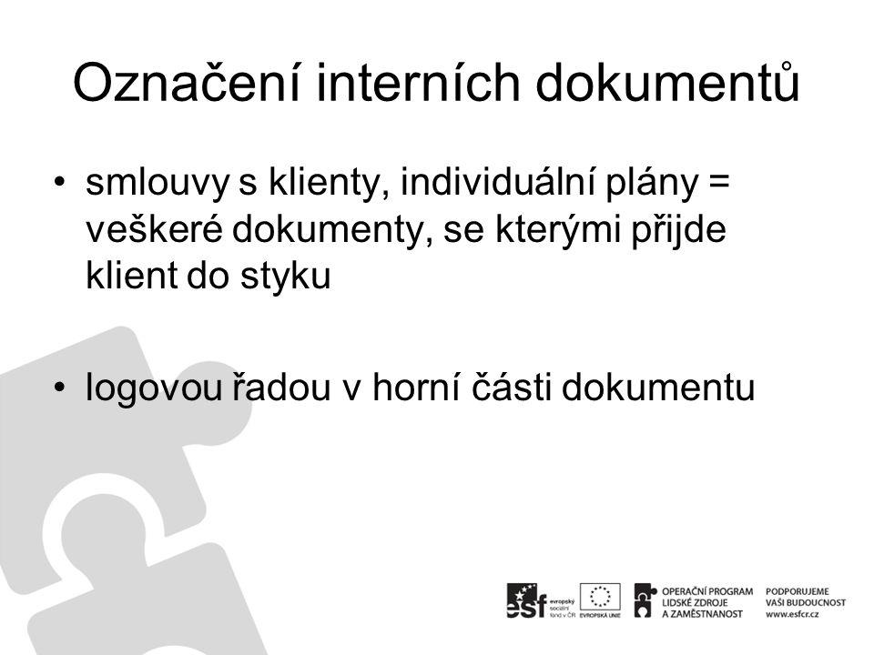 Označení interních dokumentů smlouvy s klienty, individuální plány = veškeré dokumenty, se kterými přijde klient do styku logovou řadou v horní části dokumentu