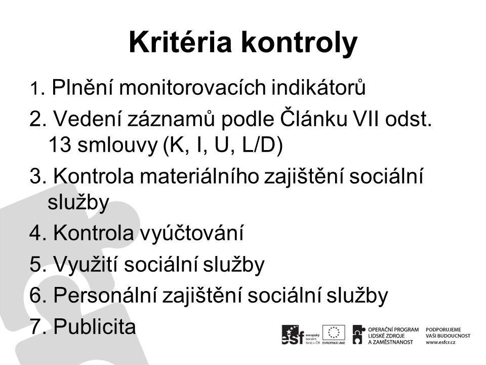 Kritéria kontroly 1. Plnění monitorovacích indikátorů 2.