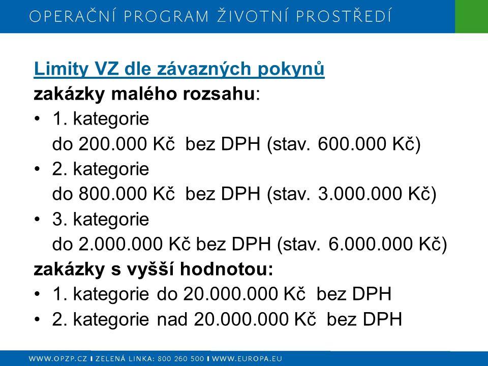 Limity VZ dle závazných pokynů zakázky malého rozsahu: 1. kategorie do 200.000 Kč bez DPH (stav. 600.000 Kč) 2. kategorie do 800.000 Kč bez DPH (stav.