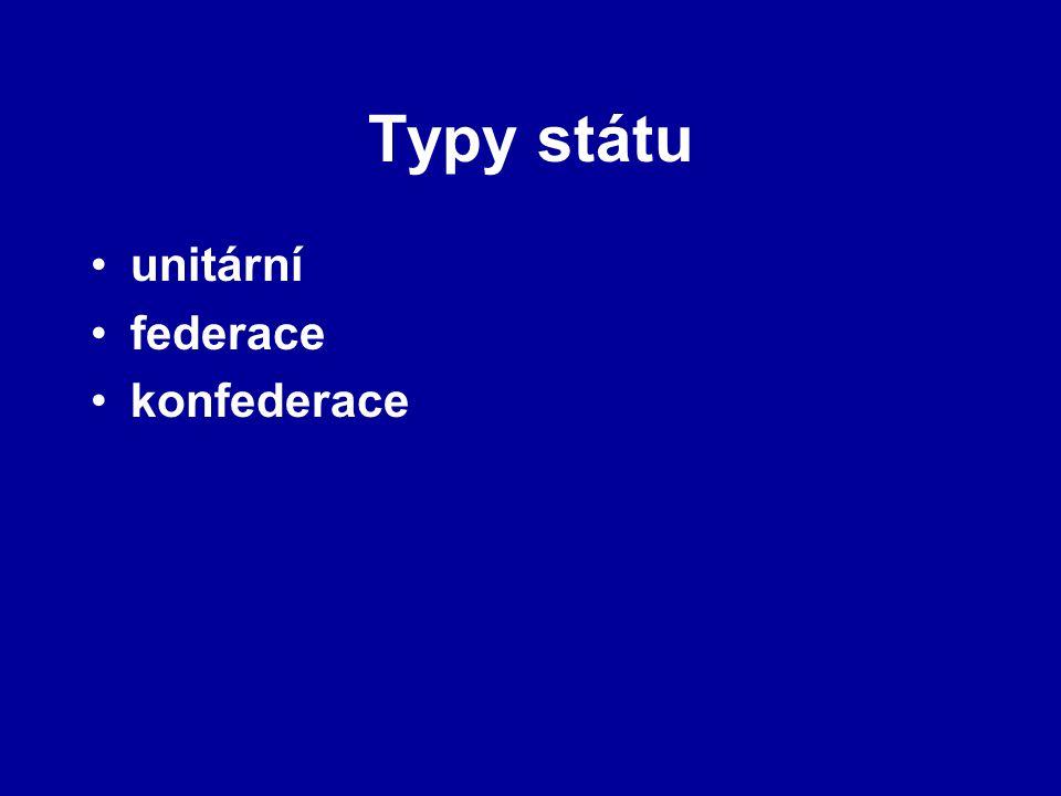 Typy státu unitární federace konfederace