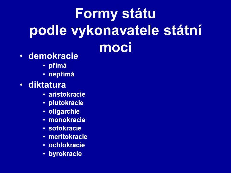 Formy státu podle vykonavatele státní moci demokracie přímá nepřímá diktatura aristokracie plutokracie oligarchie monokracie sofokracie meritokracie o