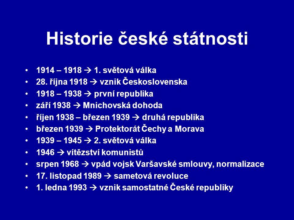 Historie české státnosti 1914 – 1918  1. světová válka 28. října 1918  vznik Československa 1918 – 1938  první republika září 1938  Mnichovská doh