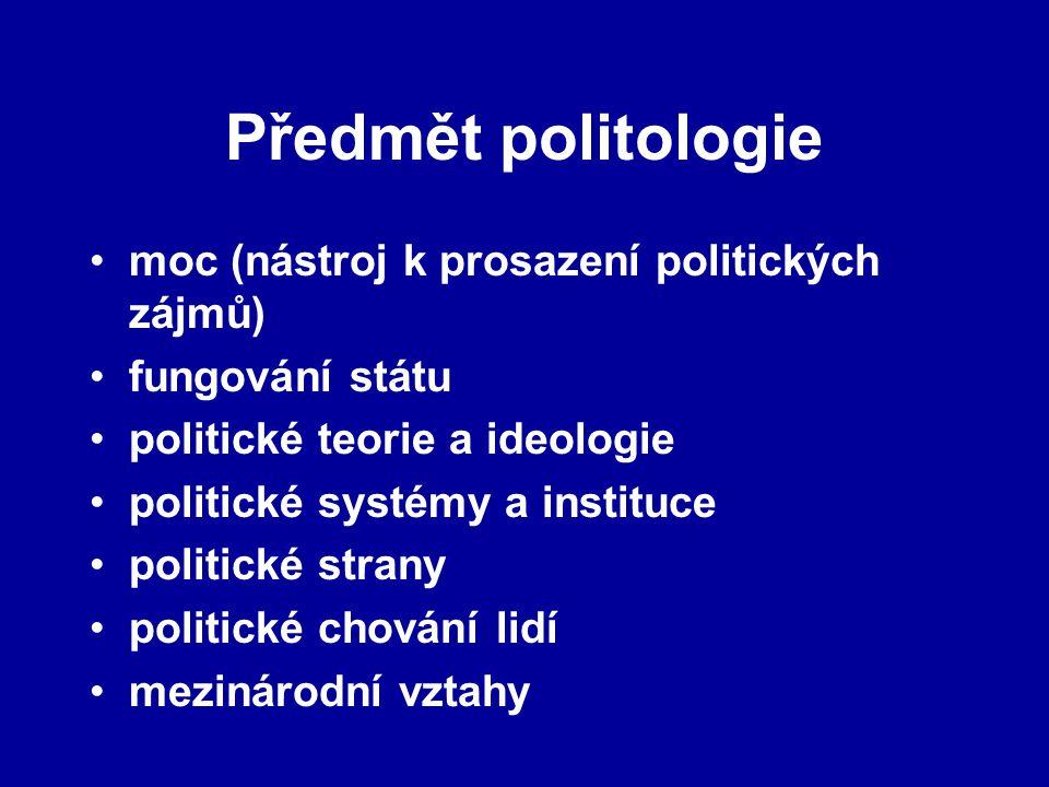 Předmět politologie moc (nástroj k prosazení politických zájmů) fungování státu politické teorie a ideologie politické systémy a instituce politické s