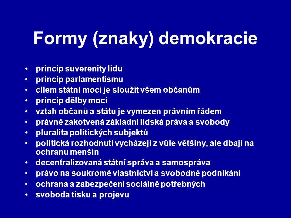Formy (znaky) demokracie princip suverenity lidu princip parlamentismu cílem státní moci je sloužit všem občanům princip dělby moci vztah občanů a stá