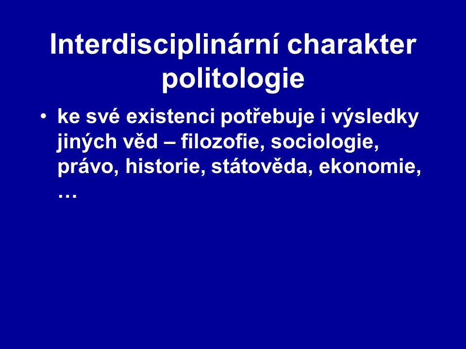 Interdisciplinární charakter politologie ke své existenci potřebuje i výsledky jiných věd – filozofie, sociologie, právo, historie, státověda, ekonomi