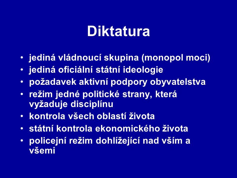 Diktatura jediná vládnoucí skupina (monopol moci) jediná oficiální státní ideologie požadavek aktivní podpory obyvatelstva režim jedné politické stran