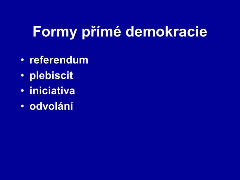 Formy přímé demokracie referendum plebiscit iniciativa odvolání
