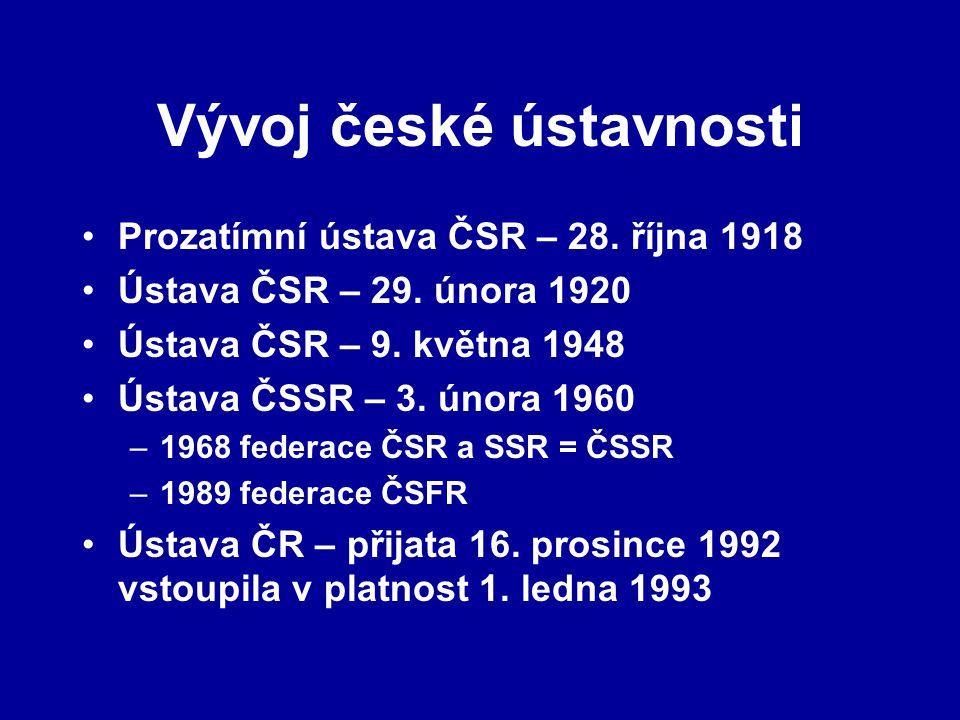 Vývoj české ústavnosti Prozatímní ústava ČSR – 28. října 1918 Ústava ČSR – 29. února 1920 Ústava ČSR – 9. května 1948 Ústava ČSSR – 3. února 1960 –196