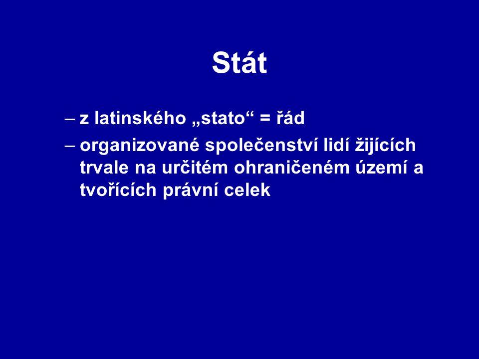 """Stát –z latinského """"stato"""" = řád –organizované společenství lidí žijících trvale na určitém ohraničeném území a tvořících právní celek"""