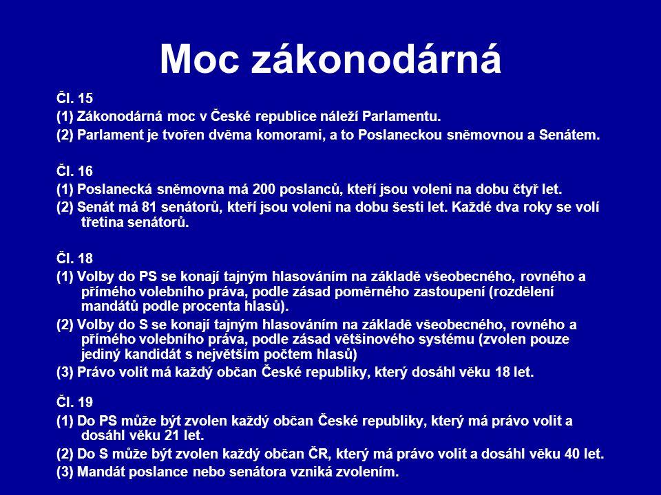 Moc zákonodárná Čl. 15 (1) Zákonodárná moc v České republice náleží Parlamentu. (2) Parlament je tvořen dvěma komorami, a to Poslaneckou sněmovnou a S