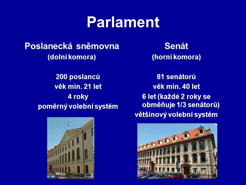 Parlament Poslanecká sněmovna (dolní komora) 200 poslanců věk min. 21 let 4 roky poměrný volební systém Senát (horní komora) 81 senátorů věk min. 40 l