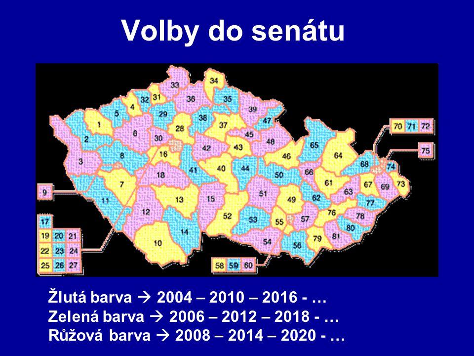 Volby do senátu Žlutá barva  2004 – 2010 – 2016 - … Zelená barva  2006 – 2012 – 2018 - … Růžová barva  2008 – 2014 – 2020 - …