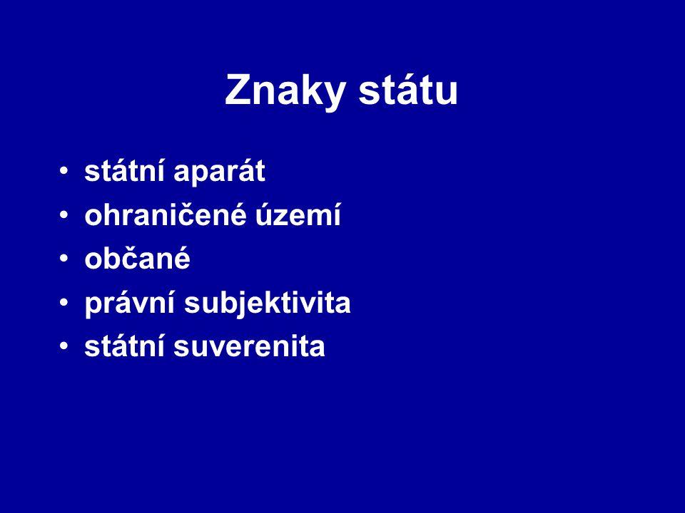 Znaky státu státní aparát ohraničené území občané právní subjektivita státní suverenita