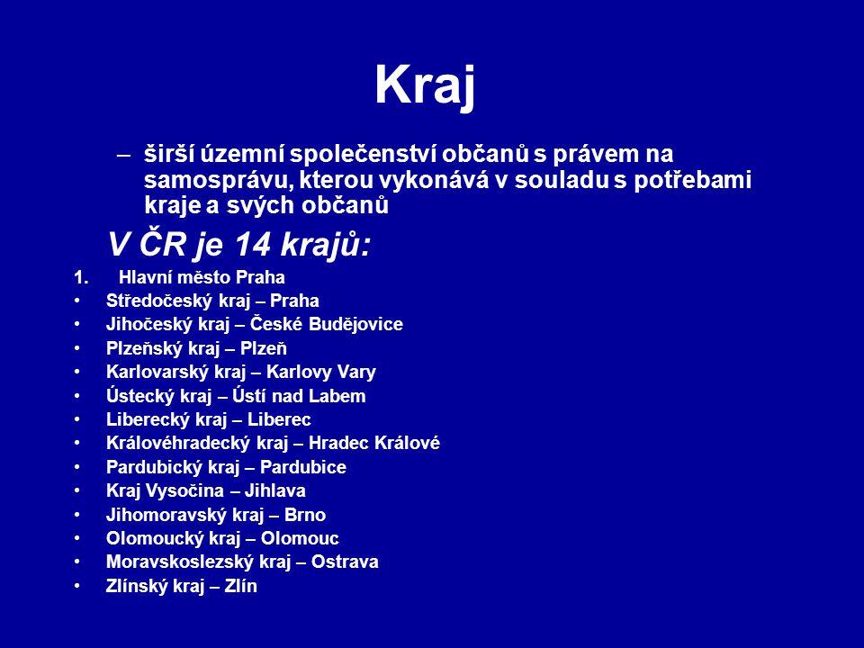 Kraj –širší územní společenství občanů s právem na samosprávu, kterou vykonává v souladu s potřebami kraje a svých občanů V ČR je 14 krajů: 1. Hlavní
