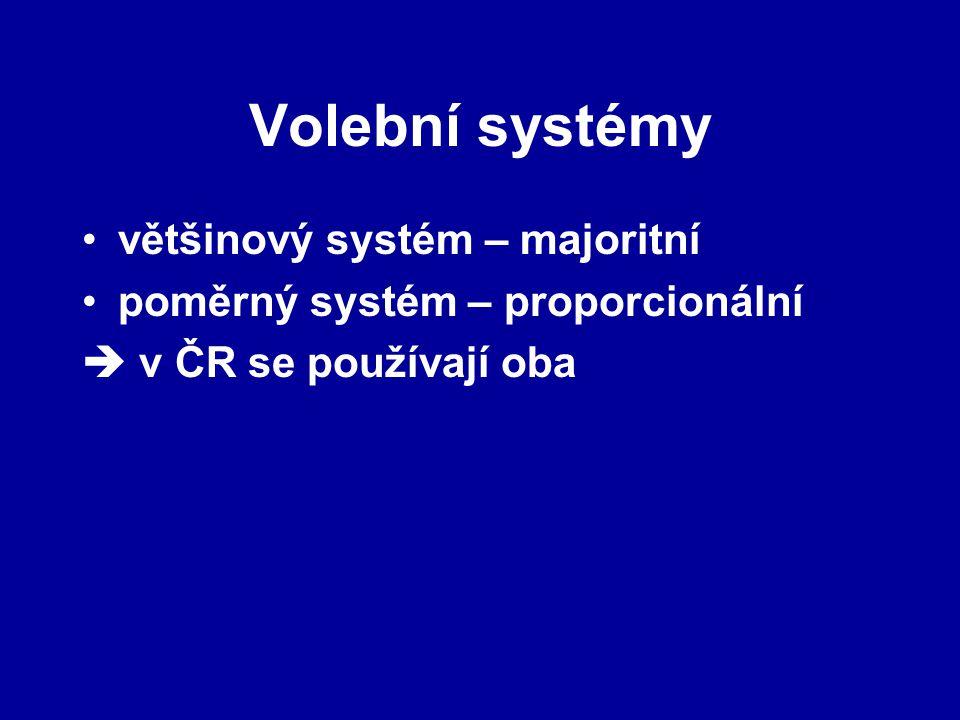 Volební systémy většinový systém – majoritní poměrný systém – proporcionální  v ČR se používají oba