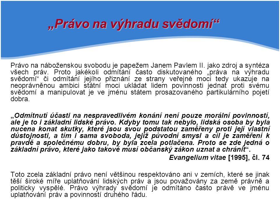Právo na náboženskou svobodu je papežem Janem Pavlem II.