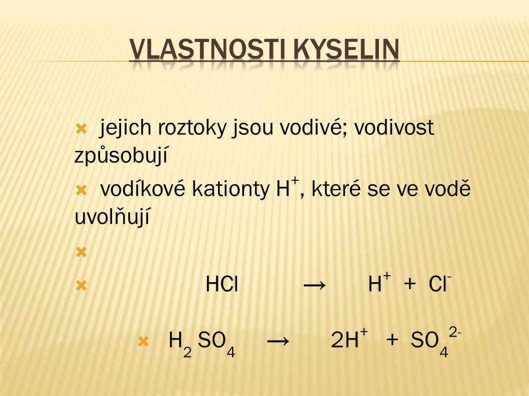  - jejich roztoky jsou vodivé; vodivost způsobují  vodíkové kationty H +, které se ve vodě uvolňují   HCl → H + + Cl -  H 2 SO 4 → 2H + + SO 4 2-