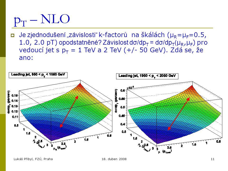 """Lukáš Přibyl, FZÚ, Praha18. duben 200811 p T – NLO  Je zjednodušení """"závislosti"""" k-factor ů na škálách (μ R =μ F =0.5, 1.0, 2.0 pT) opodstatněné? Záv"""