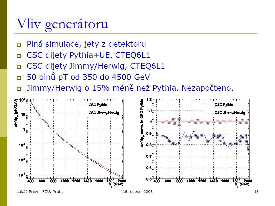 Lukáš Přibyl, FZÚ, Praha18. duben 200813 Vliv generátoru  Plná simulace, jety z detektoru  CSC dijety Pythia+UE, CTEQ6L1  CSC dijety Jimmy/Herwig,