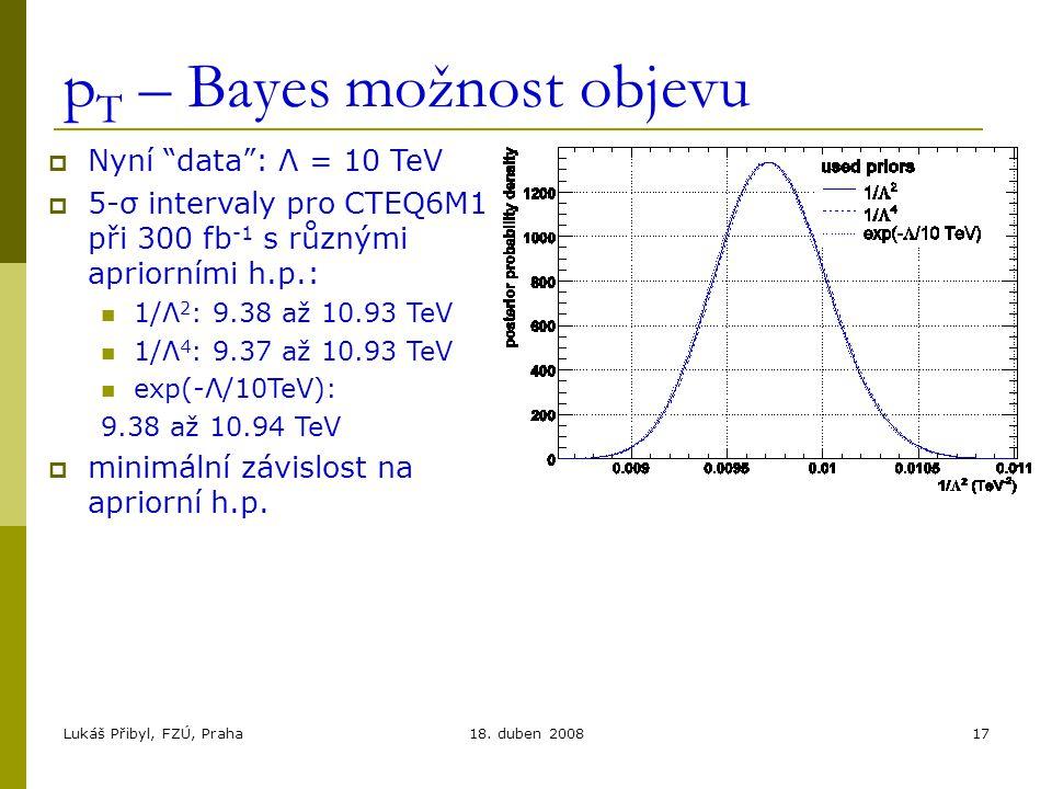 """Lukáš Přibyl, FZÚ, Praha18. duben 200817 p T – Bayes možnost objevu  Nyní """"data"""": Λ = 10 TeV  5-σ intervaly pro CTEQ6M1 při 300 fb -1 s různými apri"""