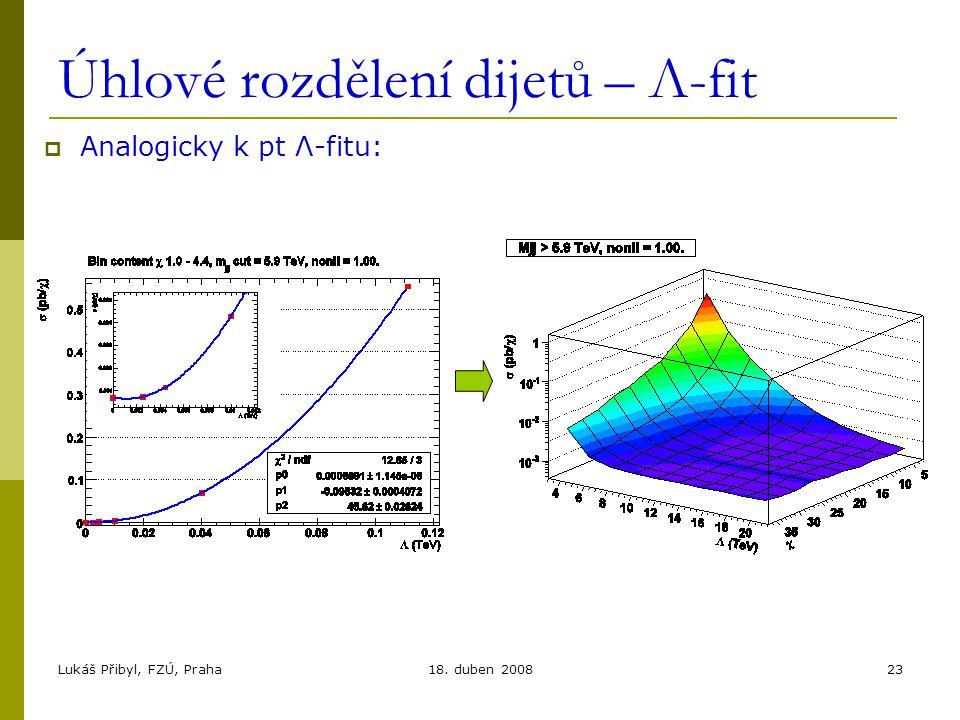 Lukáš Přibyl, FZÚ, Praha18. duben 200823 Úhlové rozdělení dijetů – Λ-fit  Analogicky k pt Λ-fitu: