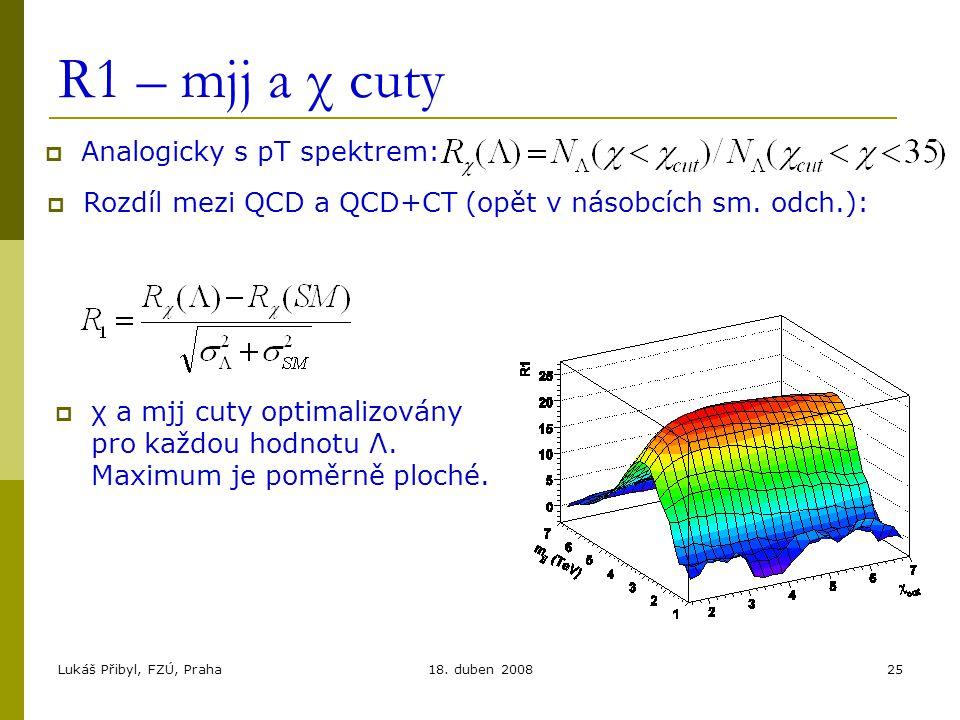 Lukáš Přibyl, FZÚ, Praha18. duben 200825 R1 – mjj a χ cuty  Analogicky s pT spektrem:  Rozdíl mezi QCD a QCD+CT (opět v násobcích sm. odch.):  χ a