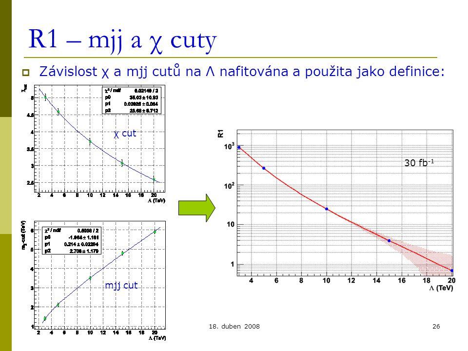 Lukáš Přibyl, FZÚ, Praha18. duben 200826 R1 – mjj a χ cuty  Závislost χ a mjj cutů na Λ nafitována a použita jako definice: 30 fb -1 χ cut mjj cut