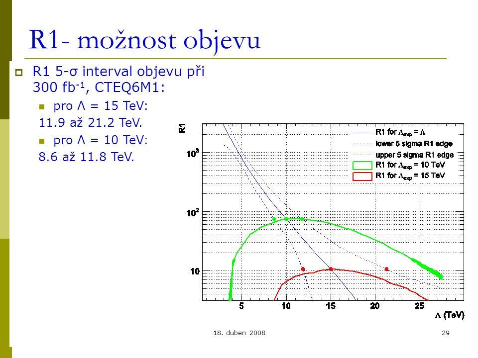 Lukáš Přibyl, FZÚ, Praha18. duben 200829 R1- možnost objevu  R1 5-σ interval objevu při 300 fb -1, CTEQ6M1: pro Λ = 15 TeV: 11.9 až 21.2 TeV. pro Λ =