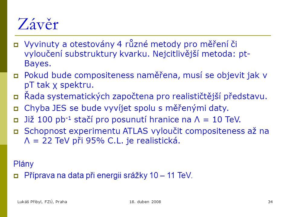 Lukáš Přibyl, FZÚ, Praha18. duben 200834 Závěr  Vyvinuty a otestovány 4 různé metody pro měření či vyloučení substruktury kvarku. Nejcitlivější metod