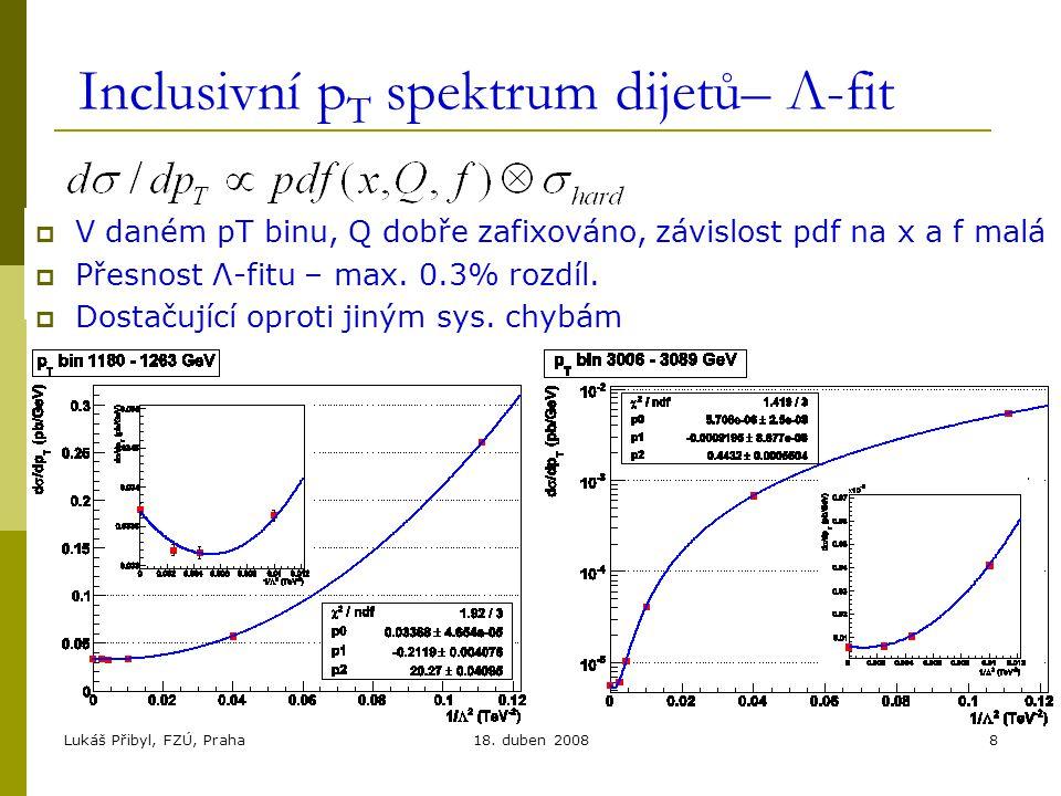 Lukáš Přibyl, FZÚ, Praha18. duben 20088 Inclusivní p T spektrum dijetů– Λ-fit  V daném pT binu, Q dobře zafixováno, závislost pdf na x a f malá  Pře