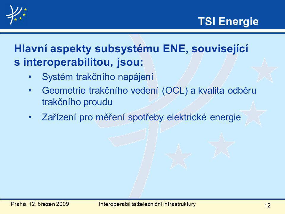 Hlavní aspekty subsystému ENE, související s interoperabilitou, jsou: Systém trakčního napájení Geometrie trakčního vedení (OCL) a kvalita odběru trakčního proudu Zařízení pro měření spotřeby elektrické energie 12 Praha, 12.