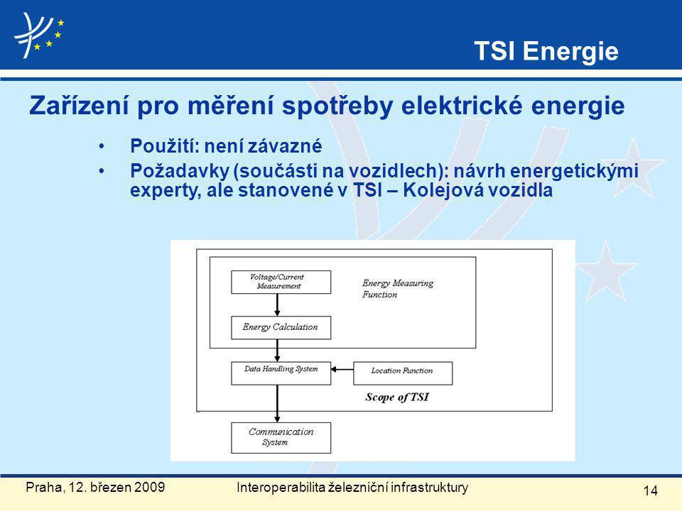 Zařízení pro měření spotřeby elektrické energie Použití: není závazné Požadavky (součásti na vozidlech): návrh energetickými experty, ale stanovené v TSI – Kolejová vozidla 14 Praha, 12.